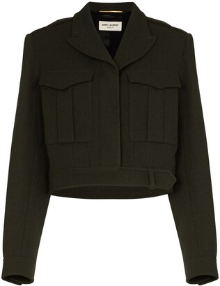 Saint Laurent Cropped Military-Style Jacket