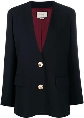 Gucci Button-Embellished Collarless Blazer
