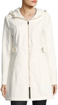 Via Spiga Hooded Zip-Front Coat, White