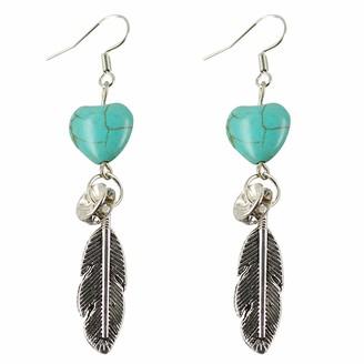 YONGHUI Retro Bohemian Turquoise Leaf Tassel Dangle Drop Earring Fashion Sweet Hook Earrings For Women Ladies Jewelry gifts (Style A)