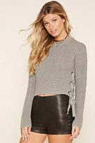 Forever 21 FOREVER 21+ Lace-Up Cropped Sweater