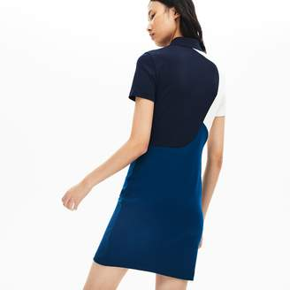 Lacoste Women's Fitted Color-Block Cotton Polo Dress
