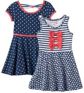 Nannette Toddler Girl Knit Polka-Dot & Striped Skater Dress Set