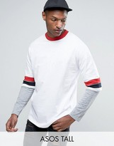 Asos TALL Oversized Longline T-Shirt With Retro Color Blocking And Layered Sleeve