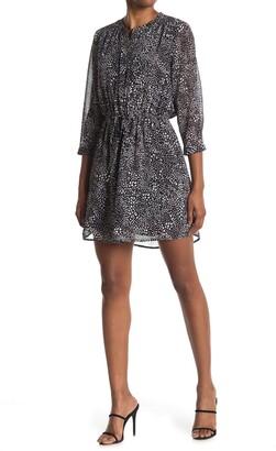 Dr2 By Daniel Rainn Split Neck 3/4 Length Sleeve Dress