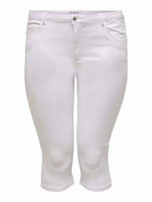 ONLY Carmakoma Women's CARAUGUSTA Life HW Skinny Knickers White Shorts UK 26