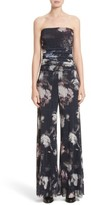 Fuzzi Women's Floral Print Tulle Strapless Jumpsuit