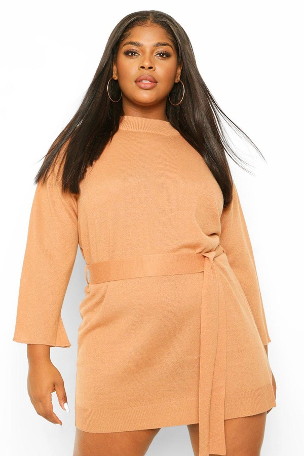 boohoo Plus High Neck Belted Sweater Dress
