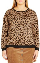 City Chic 'Leopard Lover' Pullover (Plus Size)
