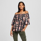 Mossimo Women's Floral Stripe Print Off the Shoulder Woven Top Black