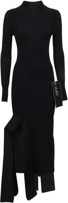 Off-White Off White Knit Long Sleeve Dress Black No Color