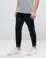 Pull&Bear Slim Joggers In Dark Gray Camo