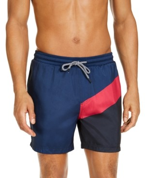 "INC International Concepts Inc Men's Splice Colorblock 5"" Swim Trunks, Created for Macy's"