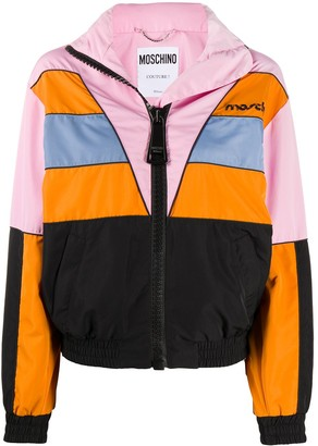 Moschino Broken Logo colour-block windbreaker