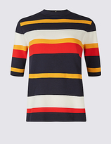 M&S Collection Striped Turtle Neck Half Sleeve Jumpers