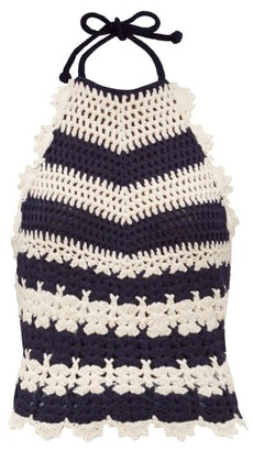 Gucci Halterneck Striped Crocheted Wool Top - Blue White