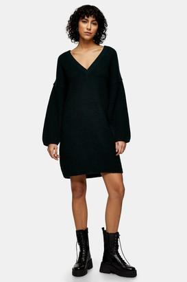 Topshop Khaki Oversized V Neck Knitted Jumper Dress