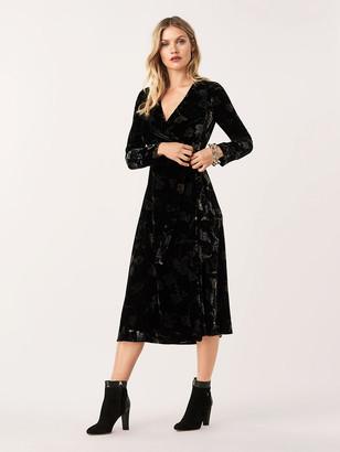 Diane von Furstenberg Tilla Velvet Midi Wrap Dress