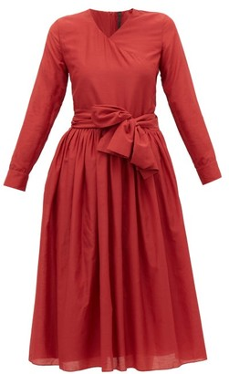 Sara Lanzi V-neck Cotton-blend Wrap Dress - Womens - Red