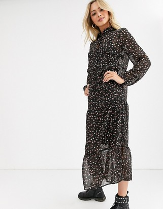 New Look chiffon smock dress in black ditsy floral