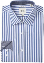 Work Rest Karma Blue Modern Stripe Slim Fit Dress Shirt