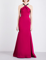 Roland Mouret Racerback pleated satin gown