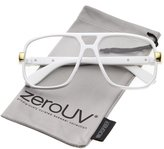 Zerouv Classic Flat Top Metal Accented Temples Clear Lens Square Aviator Glasses 56mm