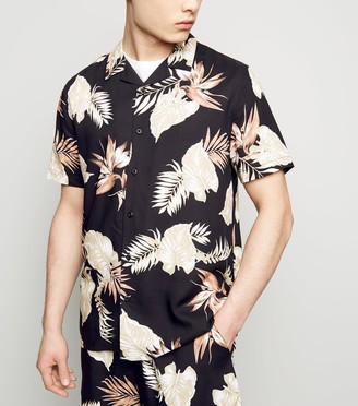 New Look Leaf Print Revere Collar Shirt
