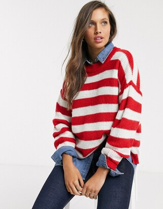 Brave Soul boaty stripe jumper-Red