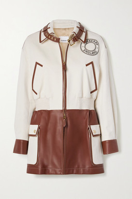 Burberry Printed Cotton-canvas And Leather Jacket - Ecru