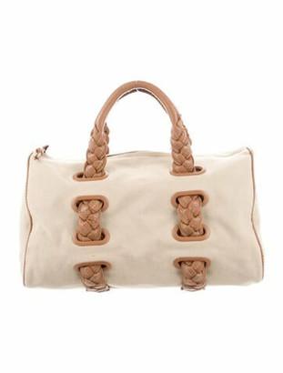 Bottega Veneta Leather-Trimmed Canvas Handle Bag Brass