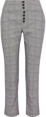 Joie Abony Cropped Prince Of Wales Checked Jacquard Tapered Pants