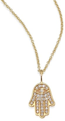 Sydney Evan Mini Hamsa Pave Diamond & 14K Yellow Gold Pendant Necklace