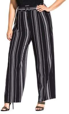 City Chic Plus Striped Palazoo Pants