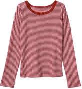 Joe Fresh Kid Girls' Stripe Ribbed Tee, Grey Mix (Size L)