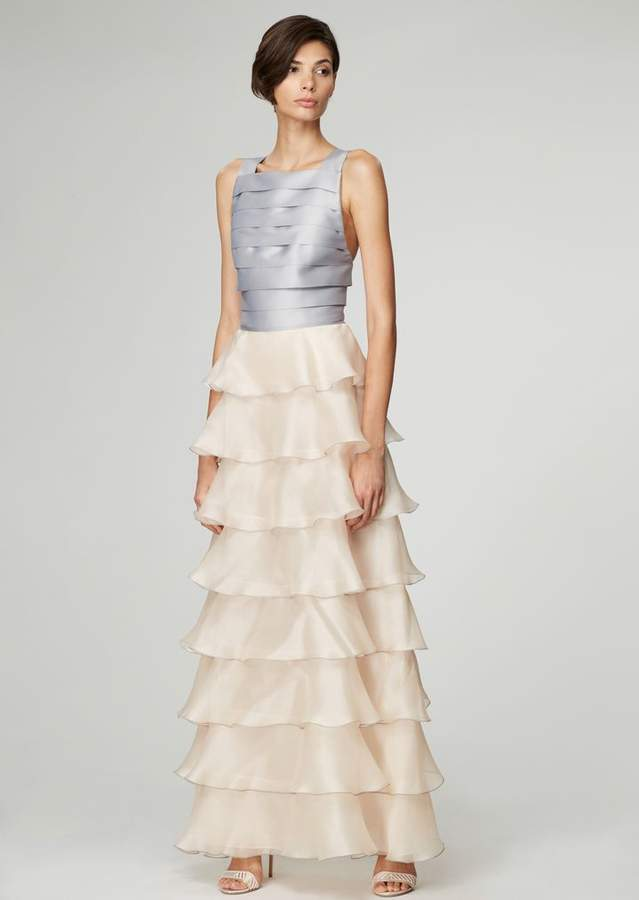 Giorgio Armani Long Dress In Organza With Pleated Skirt