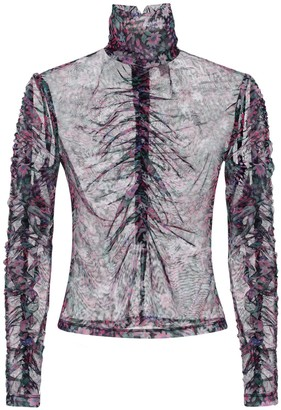 Bec & Bridge Floral Print Turtleneck Mesh Top