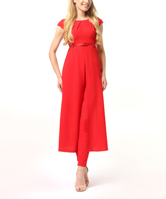LADA LUCCI Women's Casual Pants Red - Red Belted Slit-Hem Tunic & Straight-Leg Pants - Women & Plus