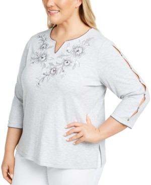 Alfred Dunner Plus Size Riverside Drive Embroidered Top