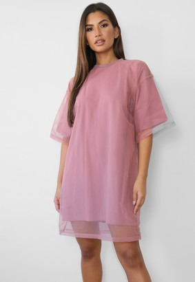 Missguided Blush Mesh Oversized T Shirt Dress