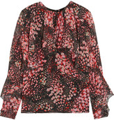 Giambattista Valli Floral-print Silk-georgette Top - Burgundy