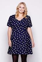 Yumi Curves Dog Print Day Dress plus size 18-26 Navy