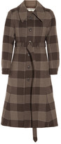 Balenciaga Belted Checked Wool Coat - Brown