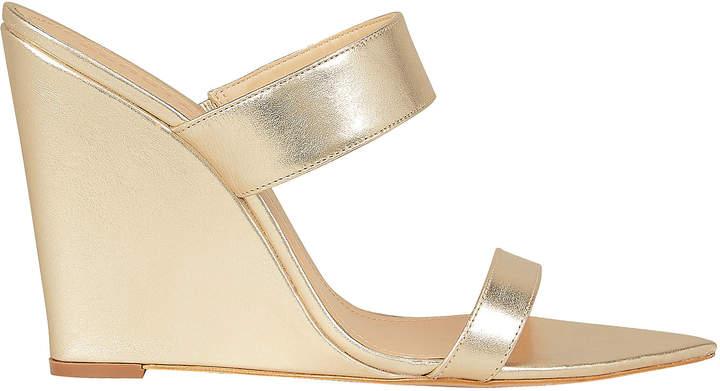 Schutz Soraya Gold Leather Wedges