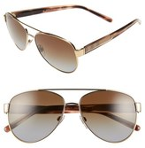Burberry Women's 57Mm Polarized Aviator Sunglasses - Light Gold