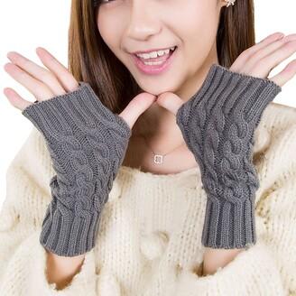 Leben Fashion Women Ladies Autumn Winter Soft Knitted Warm Fingerless Gloves Hand Wrist Warmer Half Gloves Mitten Gray