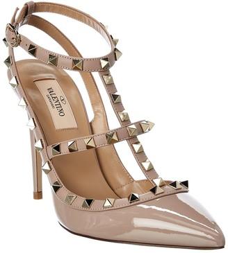 Valentino Rockstud 100 Patent Ankle Strap Pump