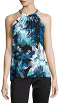 MICHAEL Michael Kors Chain-Neck Knit Halter Top, Blue Pattern