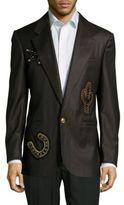 Versace Solid Wool Long-Sleeve Jacket