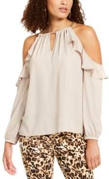 Thalia Sodi Ruffled Cold-Shoulder Top, Created For Macy's